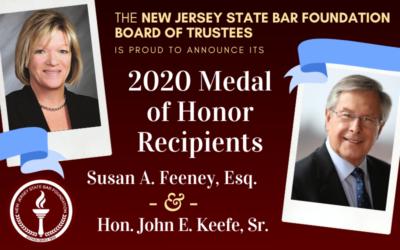NJSBF Announces Susan A. Feeney and Judge John E. Keefe Sr. as Its 2020 Medal of Honor Recipients